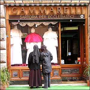Gammarelli's in Rome, tailor to the Pope. More pink than punk!